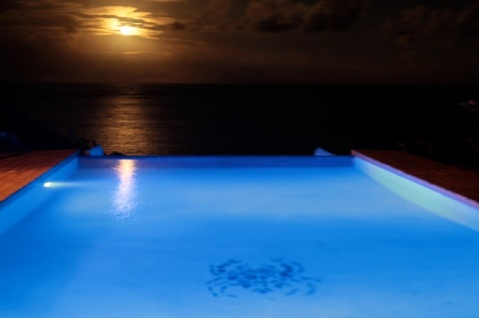moon rising from pool